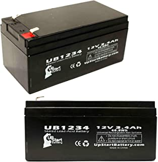 2 Pack Replacement for APC Back-UPS ES 350 BE350R Battery - Replacement UB1234 Universal Sealed Lead Acid Battery (12V, 3.4Ah, 3400mAh, F1 Terminal, AGM, SLA) - Includes 4 F1 to F2 Terminal Adapters