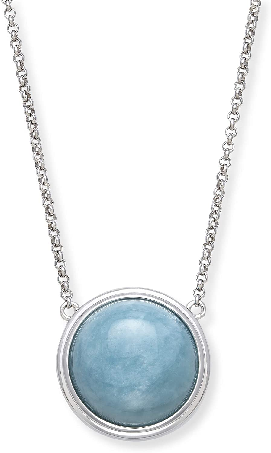 Sterling Max 64% OFF Silver Natural Aquamarine wholesale Women Necklace for