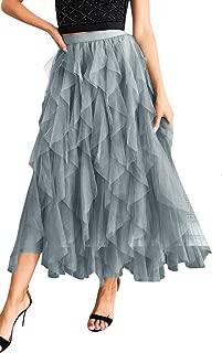 Angashion Women Tulle Skirt Formal Asymmetrical Layered A Line Midi Tea-Length Tutu Mesh Skirts Casual Petticoat