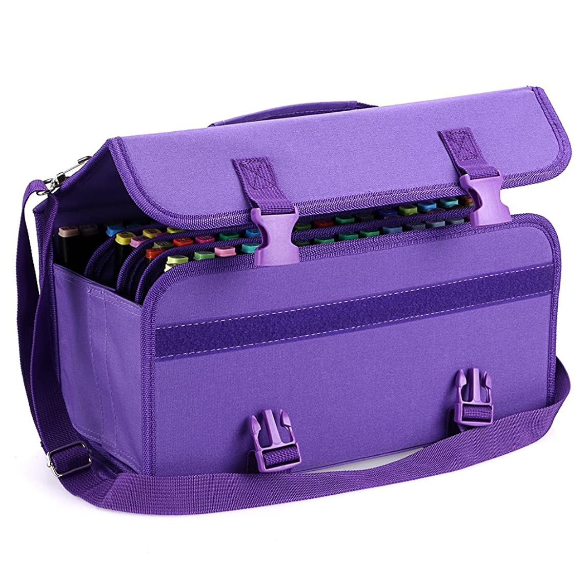 BTSKY New 120 Slots Marker Case Lipstick Organizer-Canvas Markers Holder for for Primascolor Markers and Copic Sketch Markers (Purple)