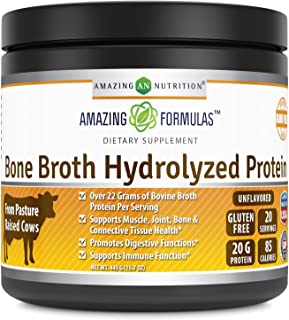 Amazing Formulas Bone Broth hydrolyzed Protein Unflavored 15.7 Oz 445 Grams - from Grass Fed Beef - High in Collagen & Gelatin - Over 22 Gram of Bovine Broth Protein per Serving.
