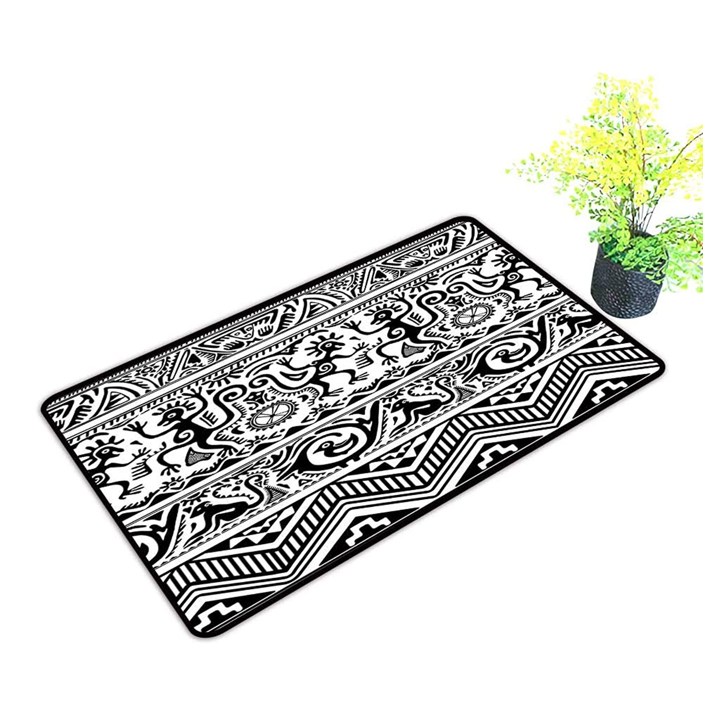 Diycon Outdoor Doormat Primitive Monkeys Birds Primitive Animal Motifs Tribal Ornaments African Petroglyph Theme W16 xL20 Suitable for Outdoor and Indoor use Black White