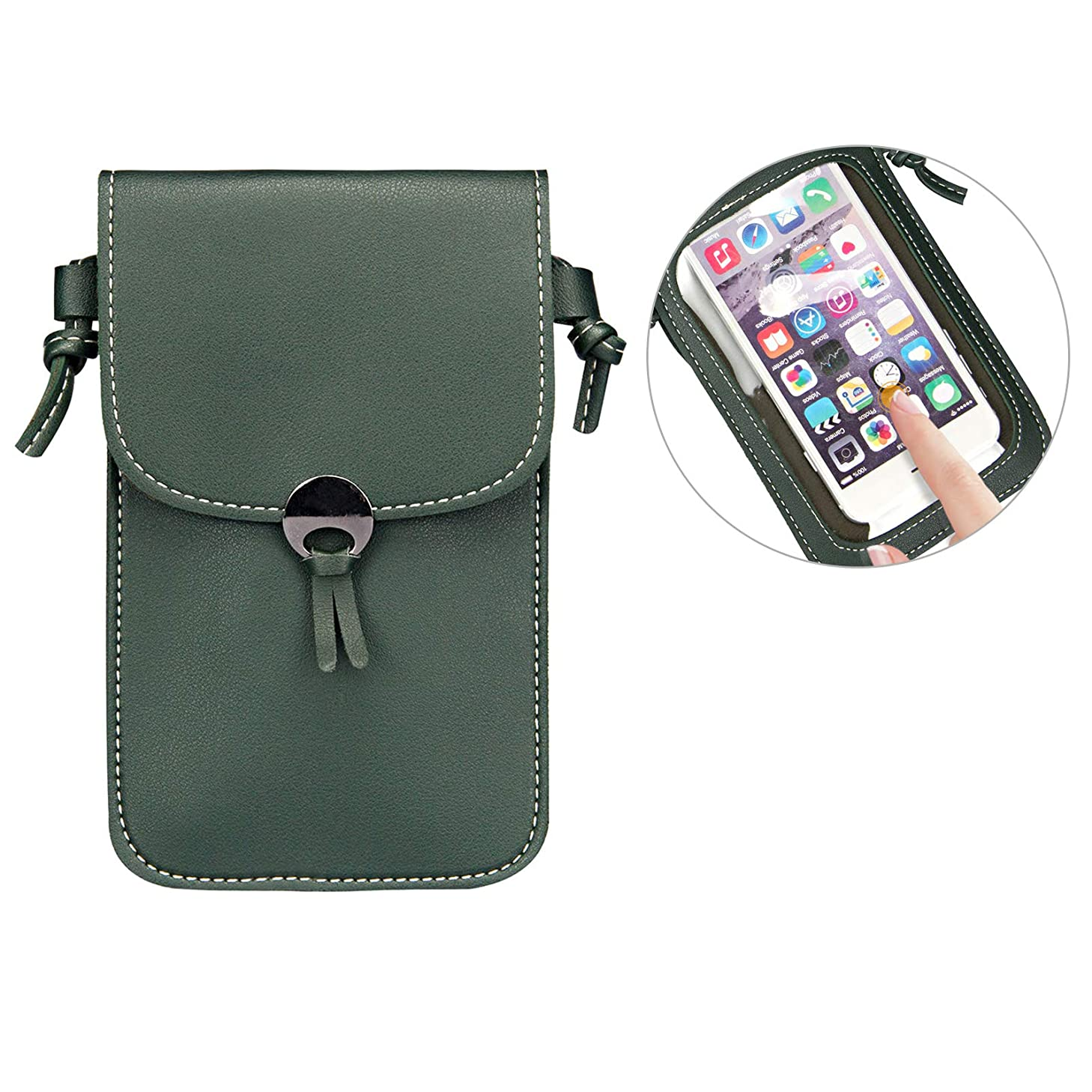 Cellphone Leather Crossbody Bag, Techcircle 2 Layers Pouch Wallet with Touch Screen Window and Detachable Shoulder Strap for iPhone 8 Plus/Xs, Samsung Galaxy S9 / S7 Edge, 5.8 inch, Dark Green