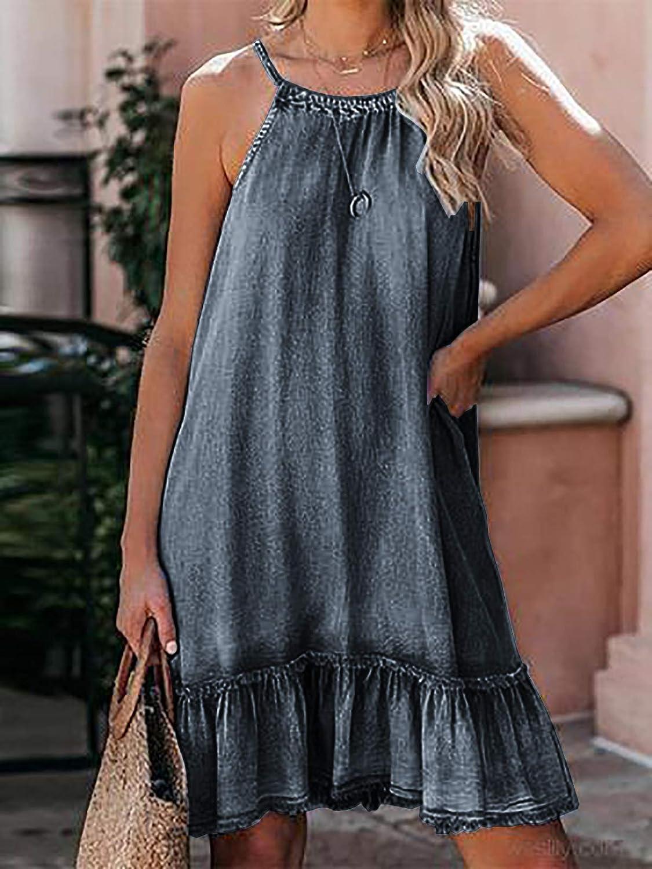 Nirovien Womens Sexy Sleeveless Denim Tank Tops High Neck Halter Cami Shirts Casual Loose Tunic Blouse