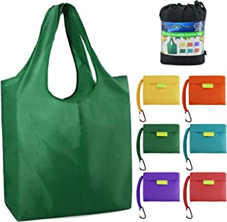 """Reusable Grocery Bags Foldable Shopping Bags Folding Shopping Tote Bag Fits in Pocket W15"""" X H15.8"""" + Handles 9.5"""" X D4.7"""" 6 Colors Mixed-02"""