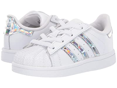 adidas Originals Kids Superstar CF I (Toddler) (White/Silver) Girls Shoes