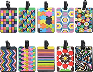 Luggage Tags, Cool Luggage Tags, Bright Color Mosaic Pattern Durable Tag ID Holder for Suitcase, Set of 10 (10 Color Mixed)