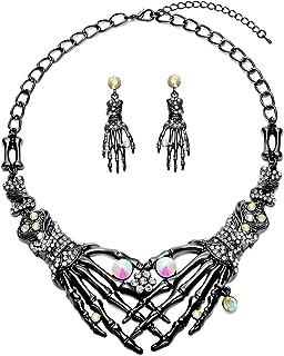 Punk Necklace Earrings Set - Hypoallergenic Gothic Skull Skeleton Choker Statement Necklace Earrings Jewelry Set For Women...
