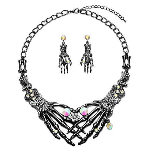 Punk Necklace Earrings Set - Hypoallergenic Gothic Skull Skeleton Choker Statement  Necklace Earrings Jewelry Set For 85422e786ace