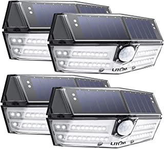 LITOM Premium 40 LED Solar Lights Outdoor, 3 Optional Modes Wireless Motion Sensor Light with 270° Wide Angle, IP67 Waterproof, Easy-to-Install Security Light for Front Door, Yard, Garage, Deck-4 Pack