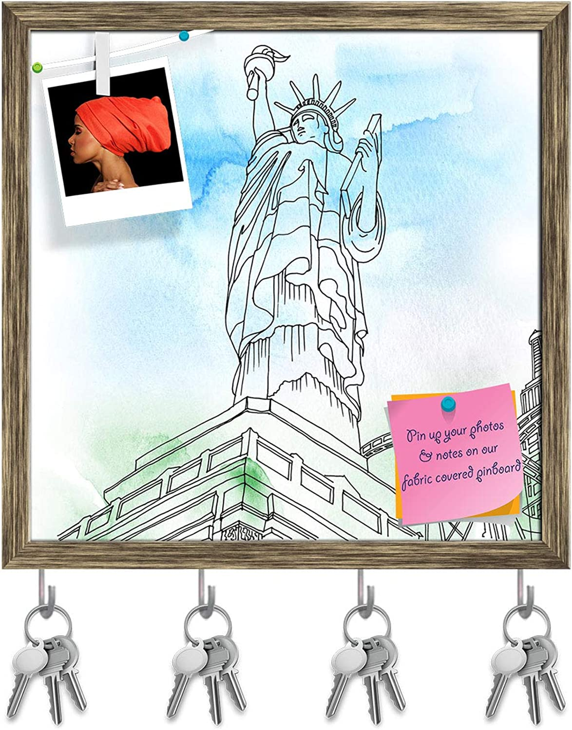 Artzfolio Statue of Liberty Us Key Holder Hooks   Notice Pin Board   Antique golden Frame 20 X 20Inch