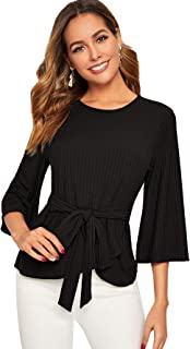 SweatyRocks Women's Round Neck Tie Front Ribbed Knit 3/4 Sleeve Wrap T Shirt Top