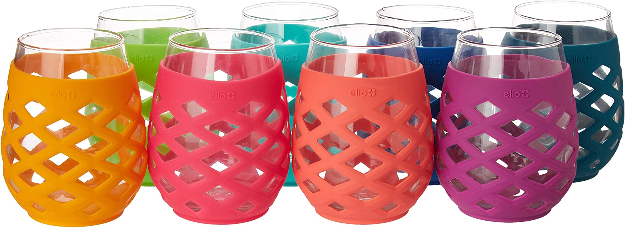 Ello 8 Piece Silicone Glassware Set 17oz