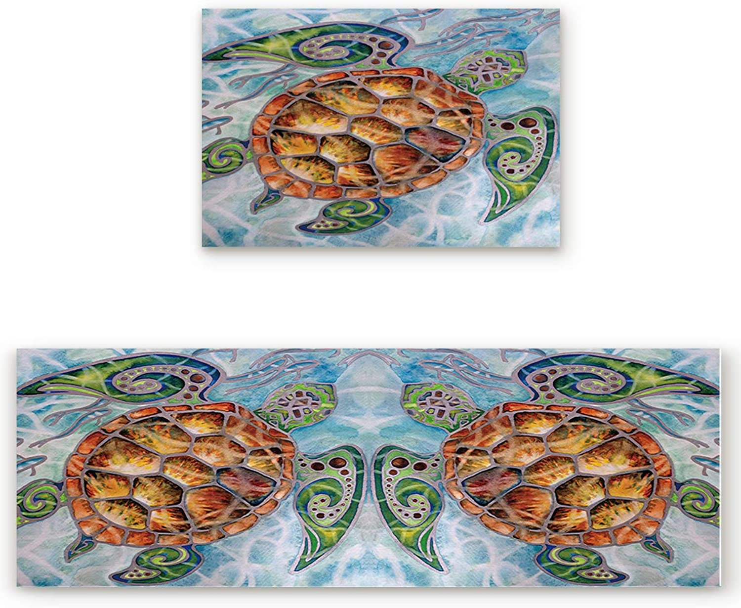 Savannan 2 Piece Non-Slip Kitchen Bathroom Entrance Mat Absorbent Durable Floor Doormat Runner Rug Set - Turtle