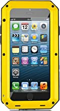 iPhone 5/5S Case, X-CASE Extreme Hard Military Heavy Aluminum Metal Armor Tank Gorilla Glass Shockproof Rainproof Water Resistant Weatherproof Dust/Dirt/Snow Proof Anti-smudge Resistant Acoustic Port Protection Cover Case For iPhone 5/5S (yellow)