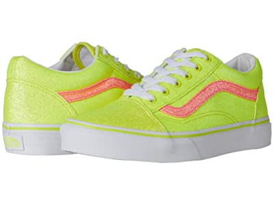 Vans Kids Old Skool (Big Kid) ((Neon Glitter) Yellow/True White) Girls Shoes