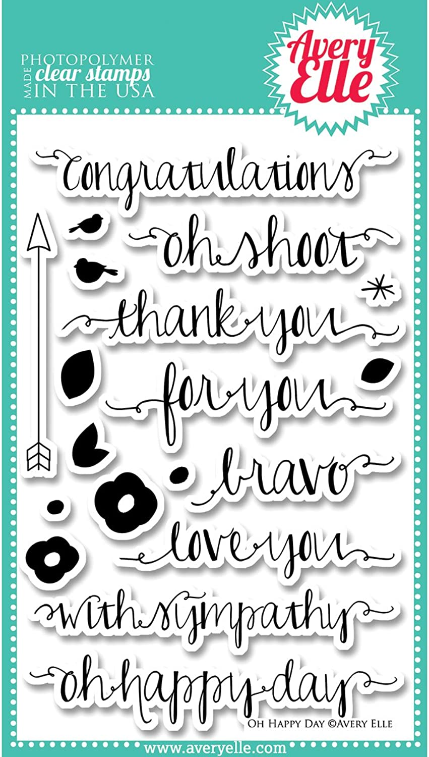 Avery Elle Rubber Clear Stamp Set 10cm x 15cm , Oh Happy Day