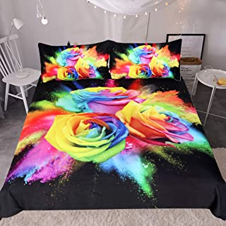 Sleepwish Rainbow Rose Bedding Set 3 Piece Colorful Flowers Duvet Cover Hippie Bedspread Black Chic Bedding for Women (Full)