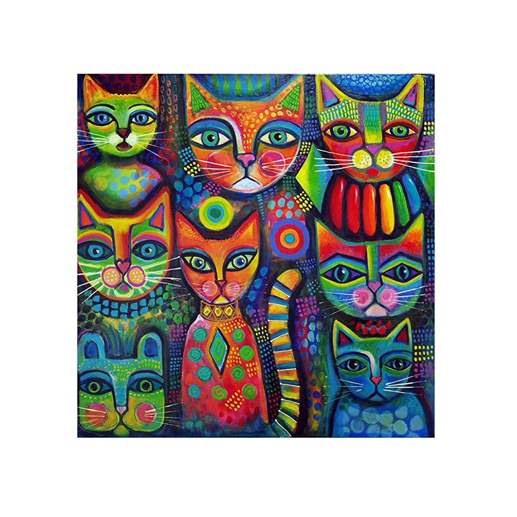 5D Diamond Painting for Adult DIY Full Diamond Painting Kit Colorful Cats Diamond Art by Numbers Full Drill Diamond Embroidery Wall Decor (11.8X11.8inch)