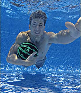Watermelon Ball – The Ultimate Swimming Pool Game | Pool Ball for Under Water Passing, Dribbling, Diving and Pool Games for Teens, Kids, or Adults | 9 in. Ball Fills with Water