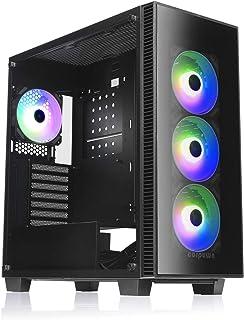 corpuwn atx pcケース ARGB エアフロー ゲーミング ミッドタワー ATX パソコンケース 120mm ARGBファン 4基搭載 2面 強化ガラス ATX M-ATX ITX マザーボード 対応 黒 EHP 750 440x 2...