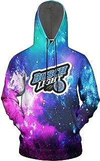 FUEWJFDIW 3D Printed Galaxy Fleece Hooded Sweatshirt for Mens' Busch-Light-Beer- Hoodie Sweatshirt