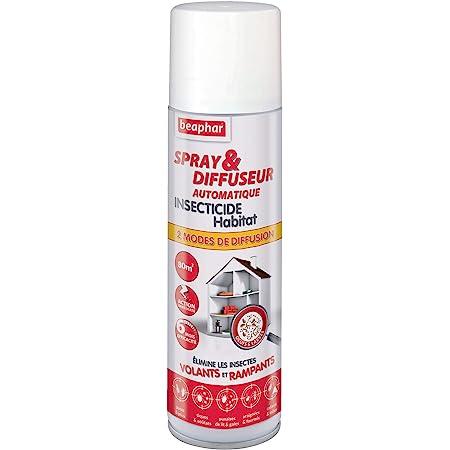 Beaphar – Spray & Diffuseur automatique insecticide habitat – Tue les insectes volants, rampants, les œufs et larves – Permet de traiter 80 m² – Action longue durée jusqu'à 6 mois – Flacon 250 ml