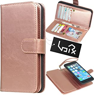 Urvoix for Apple iPhone 6 Plus / 6S Plus (5.5''), Wallet Leather Flip Card Holder Case, 2 in 1 Detachable Magnetic Back Cover iPhone6 Plus / iPhone6S Plus (NOT for iphone6) (Rose Gold)