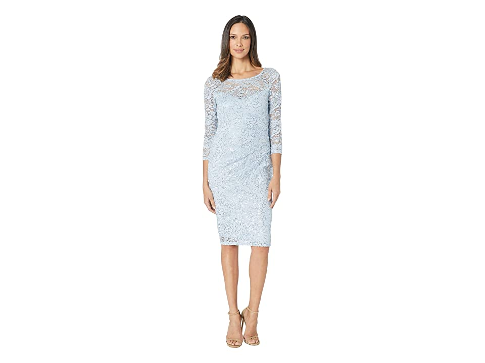 MARINA Short Long Sleeve Side Pleat Dress (Light Blue) Women