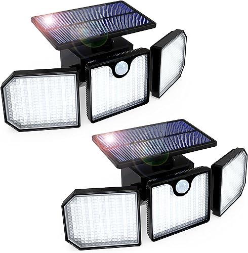 Luz Solar Exterior GolWof 2 Piezas 230LED 3 Cabezas Lampara Solar Exterior con Sensor de Movimiento 270º lluminación ...