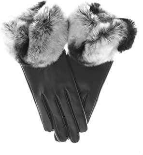Fratelli Orsini Women's Rex Rabbit Fur Cuff Cashmere Lined Winter Leather Gloves