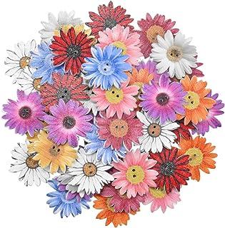wangjiangda 50 pièces Boutons Chrysanthème en Bois Fleurs en Bois Boutons Mixte Mode Aléatoire pour Couture Scrapbooking D...