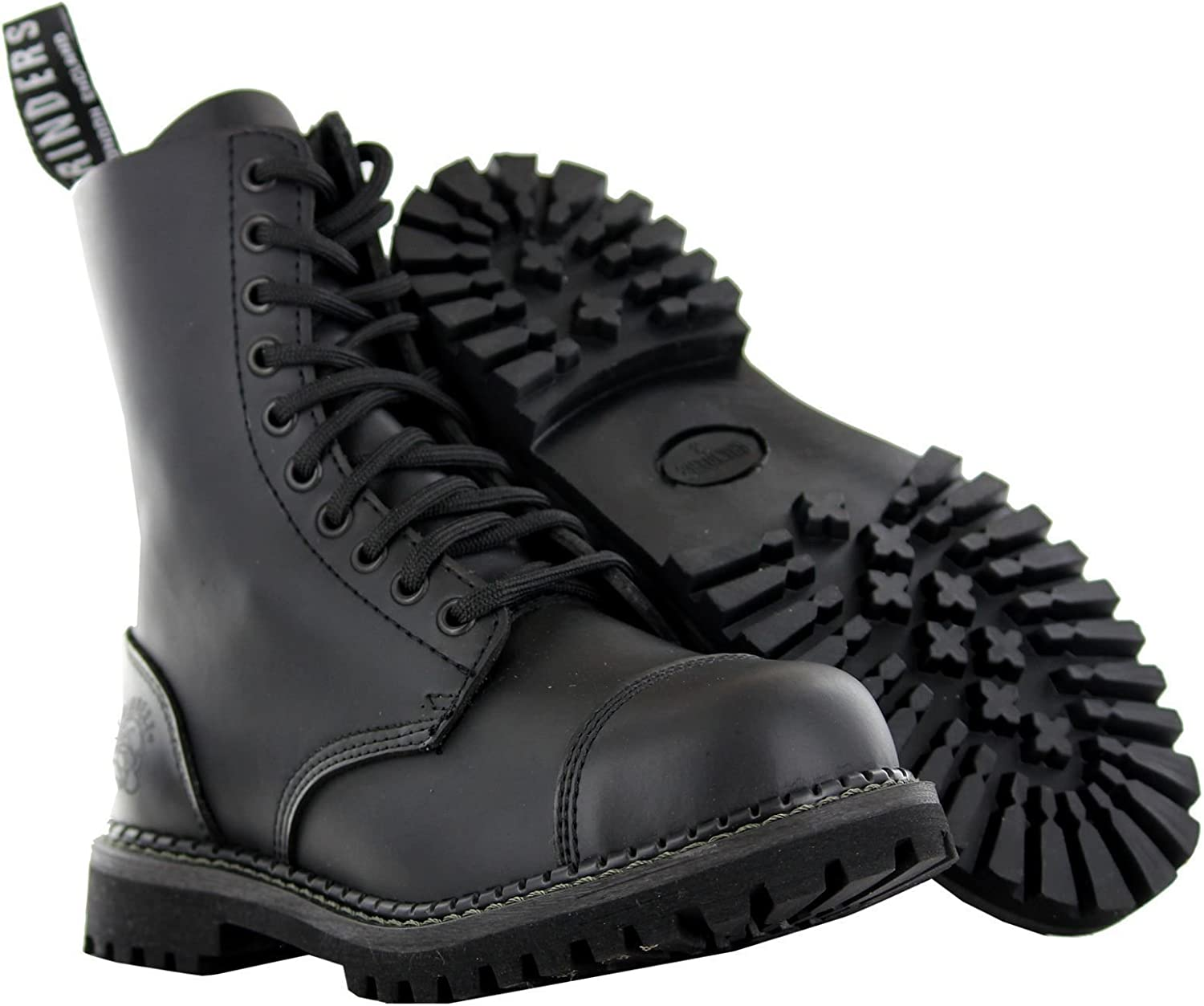 Grinders Mens Womens Hunter Stag Black Lace-Up Leather Combat Uniform Boots