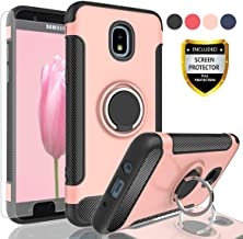 AYMECL Samsung Galaxy J7 2018 Case,J7 V 2nd Gen/J7 Aero/J7 Refine/J7 Top Case with HD Screen Protector,Rotating Ring Holder Dual Layer Shock Carbon Fiber Case for Galaxy J7(2018)-QV Rose Gold
