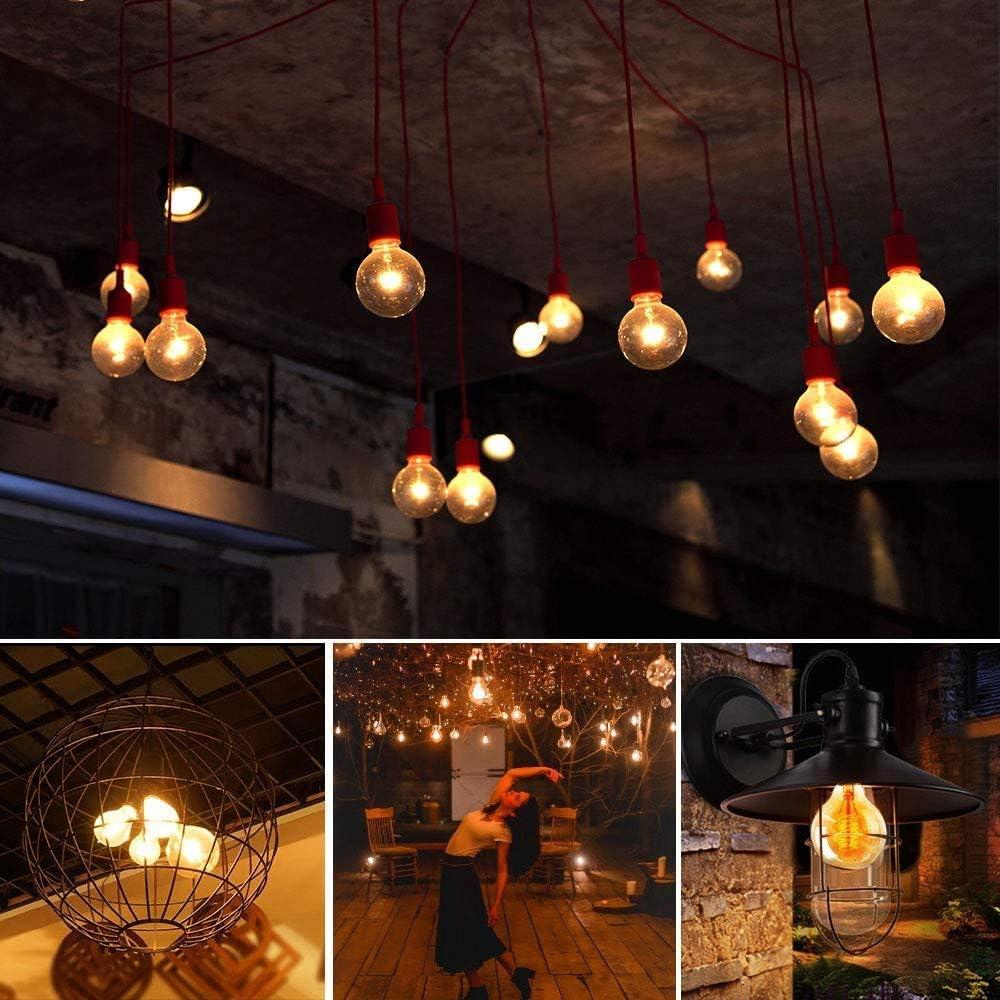 2 St/ück Leuchtmittel Globe Birne LED Amber Glas Ideal f/ür Nostalgie und Retro Beleuchtung Dekoration Edison Gl/ühbirne E27 G80 40W GUJIN Vintage Dimmbar Lampe
