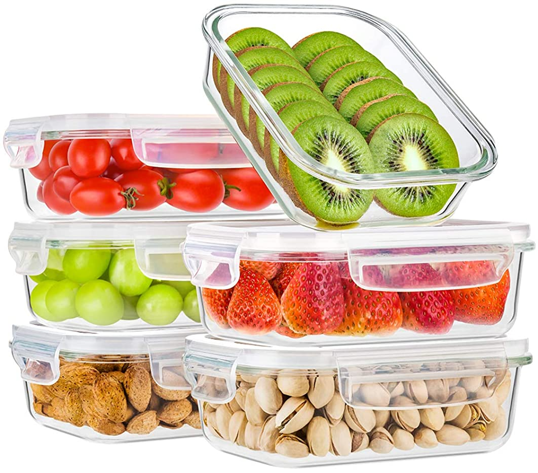 Bayco Glass Meal Prep Containers, [6 Pack, 22oz | 2.7cups] Glass Food Storage Containers with Lids, Airtight Glass Bento Boxes, BPA Free & FDA Approved & Leak Proof (6 lids & 6 Containers)