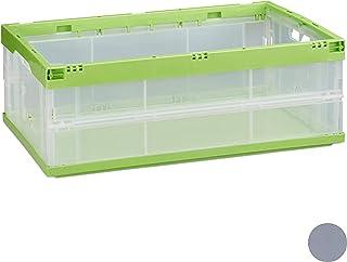 Relaxdays 10022587_53 Boîte pliable couvercle caisse de rangement plastique coffre transport 40 litres 60x40x22 cm, vert, ...