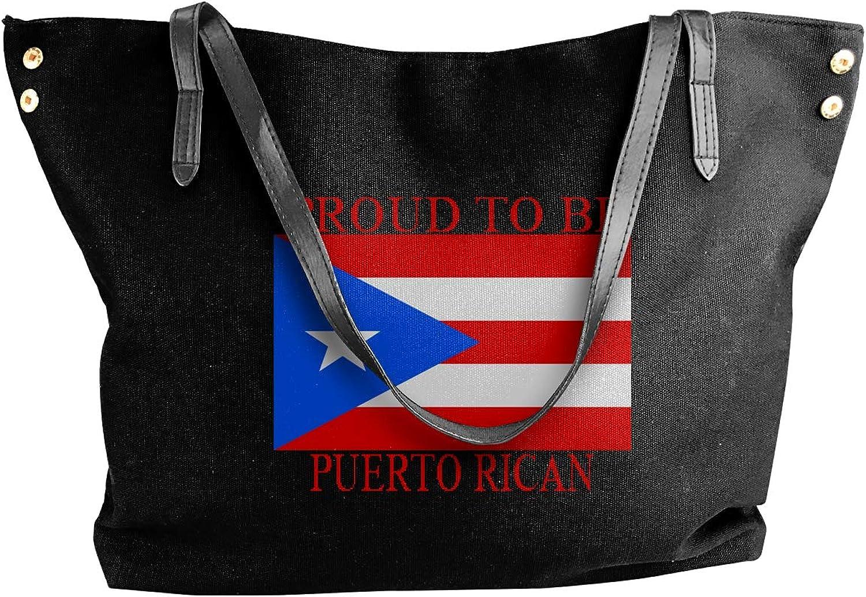 Proud To Be Puerto Rican Puerto Rican Flag Women'S Recreation Canvas Shoulder Bag For Travel Handbag