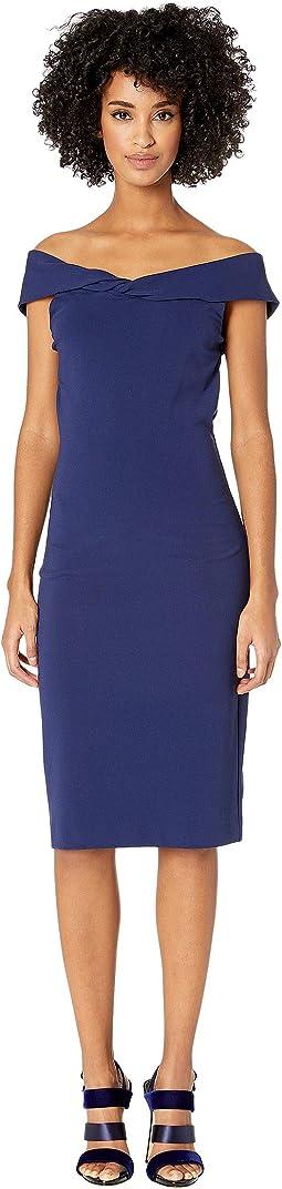 Structured Heavy Jersey Twist Off Shoulder Dress