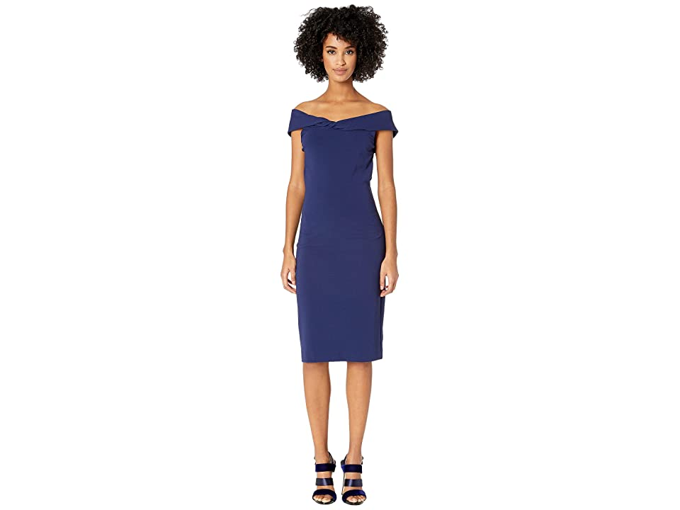 Nicole Miller Structured Heavy Jersey Twist Off Shoulder Dress (Navy) Women