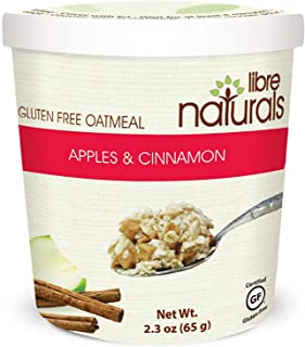 Libre Naturals Allergy Friendly Apples and Cinnamon Oatmeal Cup, Vegan, Gluten Free, Kosher, Nut Free, Dairy Free, Non-GMO, Soy Free, No Artificial Flavors, Total of 12 Cups