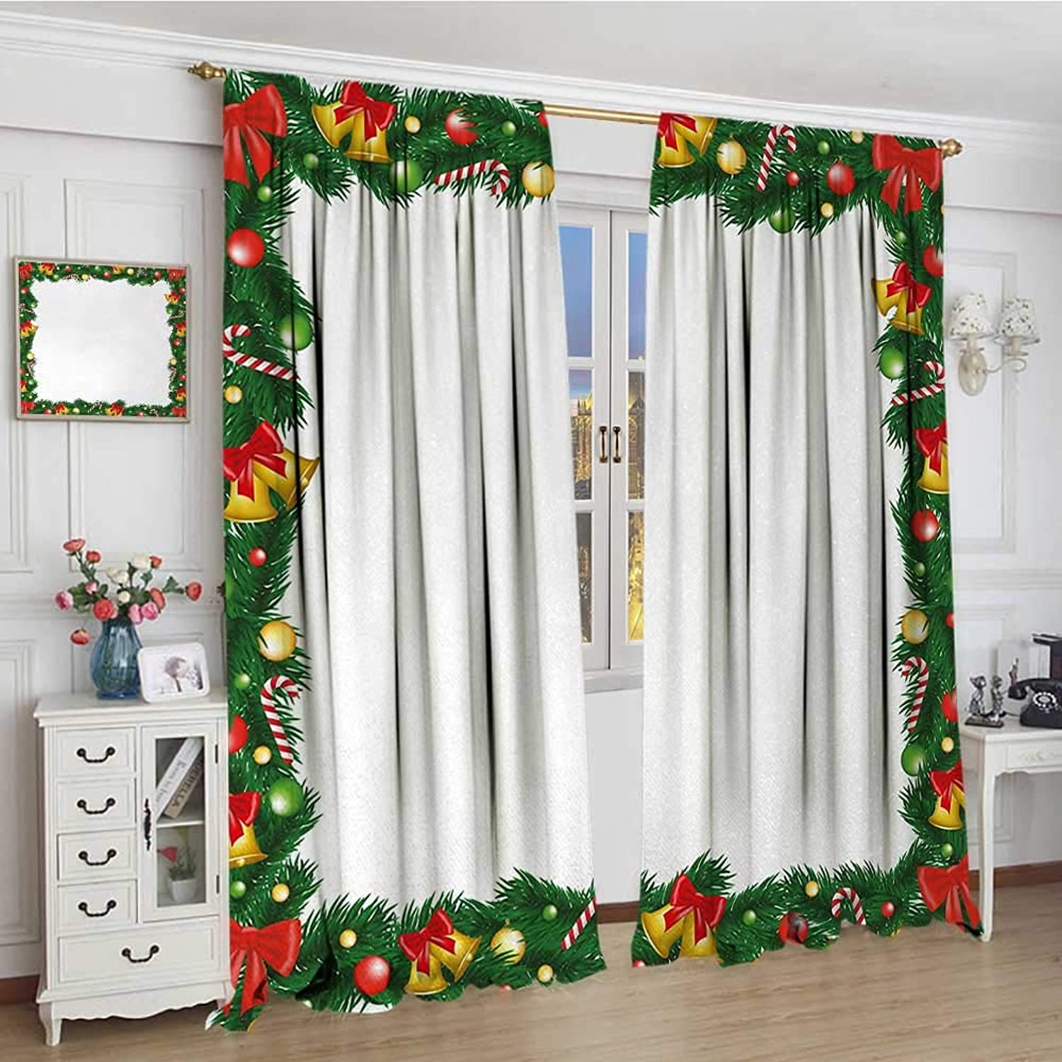 Smallbeefly New Year Thermal Insulating Blackout Curtain Xmas Themed Garland with Candy Canes Ribbons colorful Baubles and Bells Winter Decorative Curtains for Living Room 96 x96  Multicolor