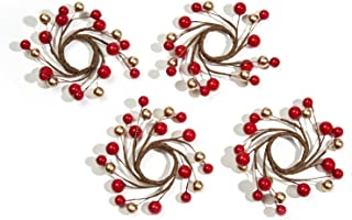 LampLust Decorative Taper Candle Rings, Red and Gold Berries, Set of 4, Versatile Holiday Centerpiece - for Weddings, Parties and Home Decor
