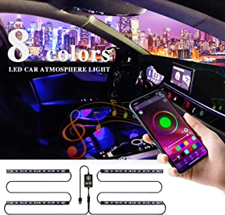 LivTee 12V Interior Car Lights, Two-Line Design 4pcs 48 LED Multi DIY Color Music Under Dash Car Lighting Waterproof Kits with APP Controller, Car Charger Included