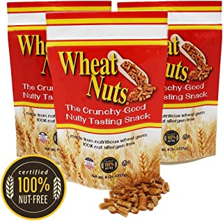 Wheat Nuts, 100% Nut Free Snack, Peanut Allergy Safe, No cholesterol, Crunchy Good Nutty Taste, Nutritious, 8oz Resealable...