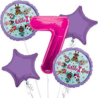 LOL Suprise Balloon Bouquet 7th Birthday 5 pcs - Party Supplies