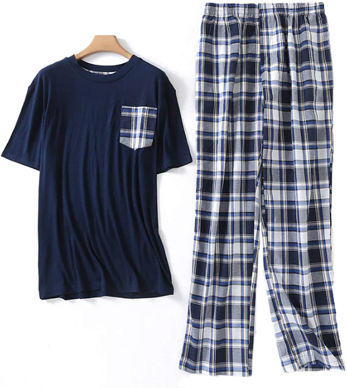 Men'S Pajamas Set Short Sleeve Pajama Sleepwear Blue M