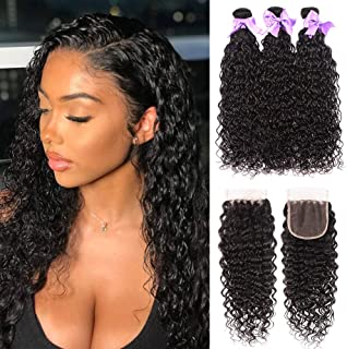 Water Wave Bundles with Closure 8A Unprocessed Wet and Wavy Ocean Wave Human Hair Bundles With Lace Closure Free Part Natural Remy Hair (16 18 20+14)