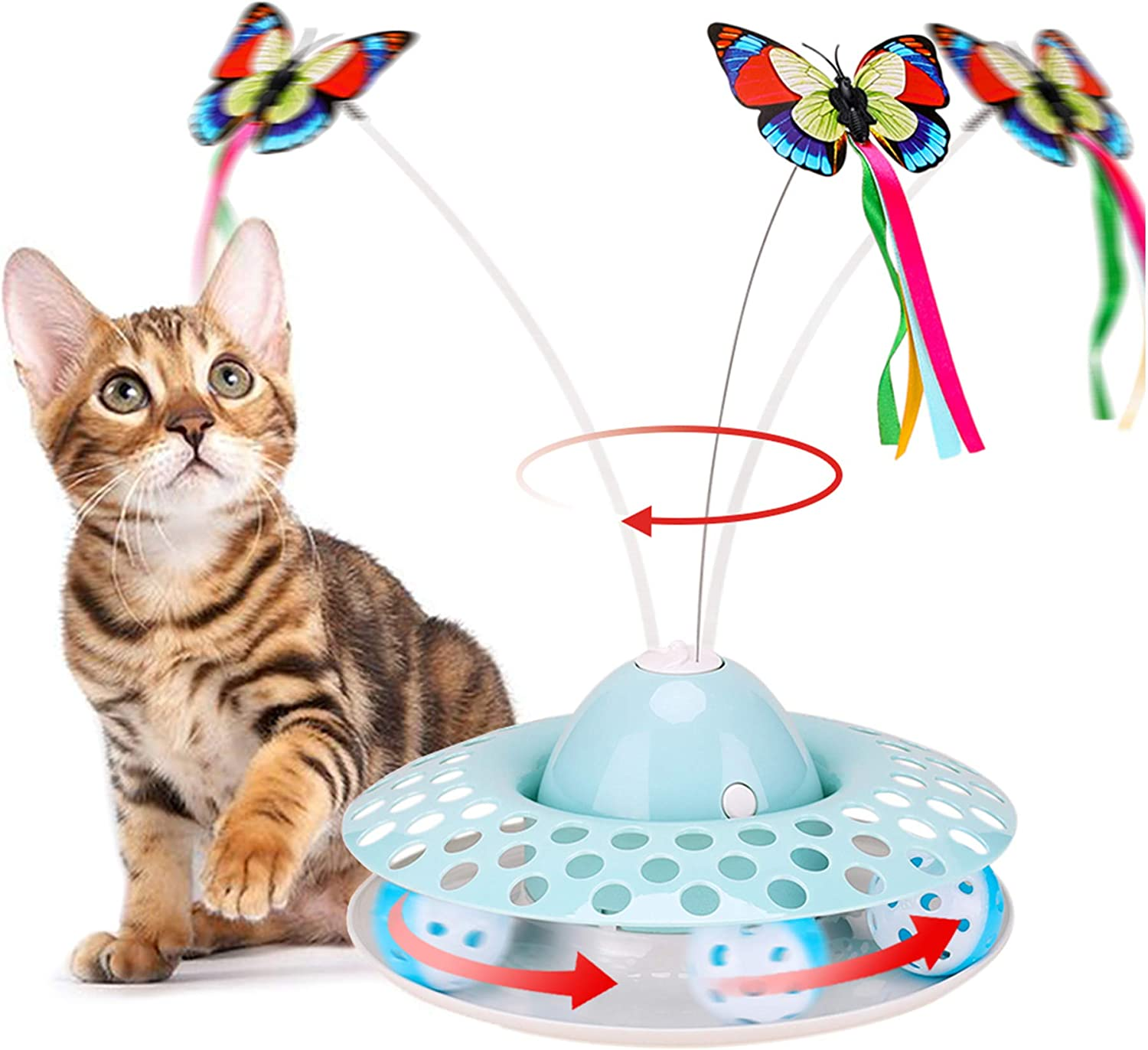 Interactive Cat Toys - Automatic Electric Rotating Butterfly & Ball Exercise Kitten Toy,Funny Cat Teaser Toys for Indoor Cats,2 Butterfly Replacements