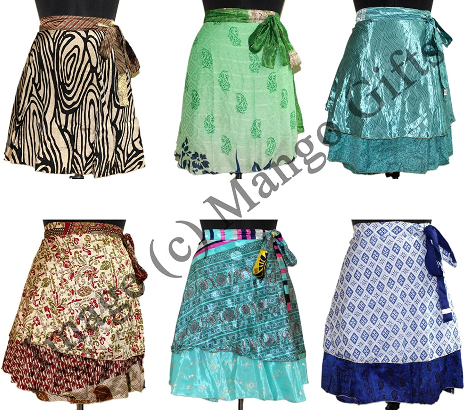 Wrap Around Skirt Wholesale lot of 10 Pcs Printed Reversible Two Layer By Mango Gifts